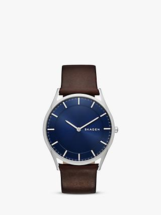 Skagen SKW6237 Men's Holst Leather Strap Watch, Brown/Blue