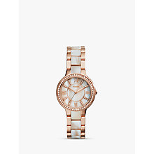 Buy Fossil ES3716 Women's Virginia Bracelet Strap Watch, Rose Gold/Mother of Pearl Online at johnlewis.com