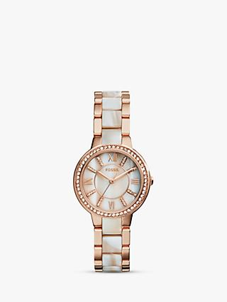 Fossil ES3716 Women's Virginia Bracelet Strap Watch, Rose Gold/Mother of Pearl