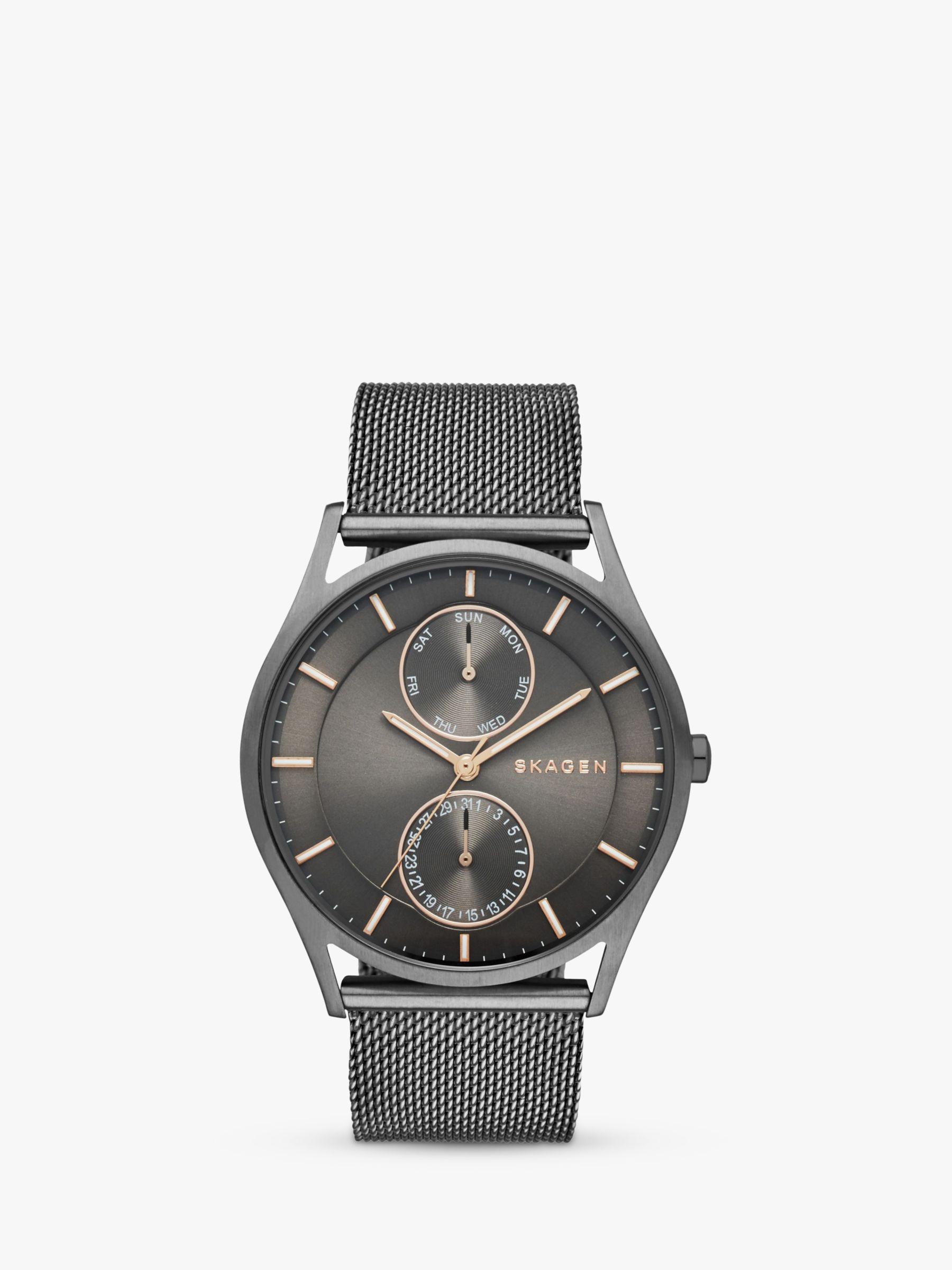 skagen Skagen SKW6180 Men's Holst Chronograph Stainless Steel Mesh Bracelet Strap Watch, Gunmetal/Black