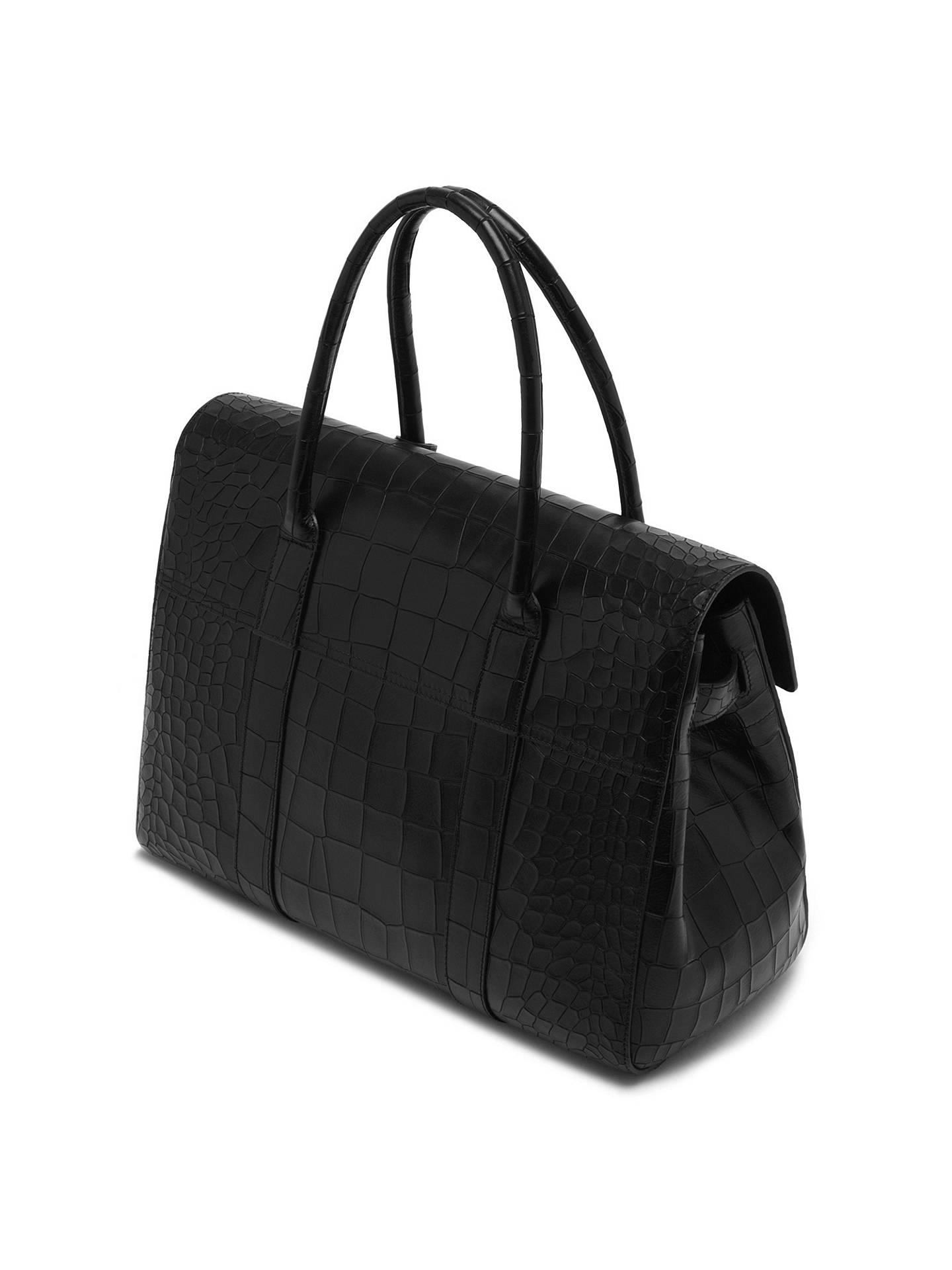 ... czech buymulberry bayswater leather croc print bag black online at  johnlewis 5c983 21c84 edd2e10f75ffe