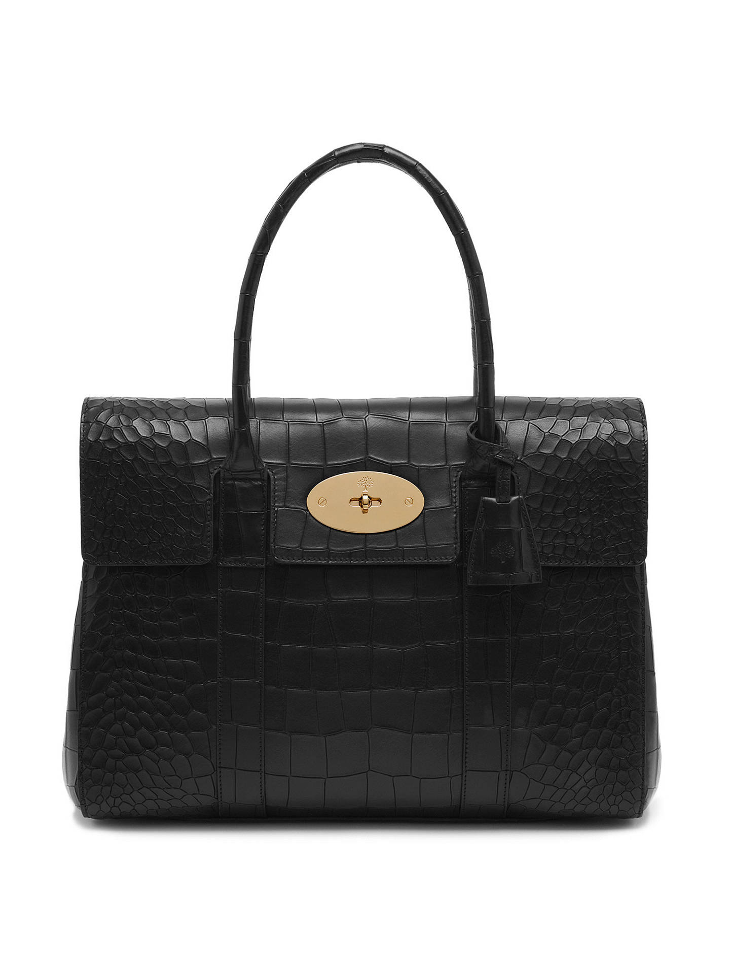 cfd9cd11f9 ... czech buymulberry bayswater leather croc print bag black online at  johnlewis 7007a 7e4d2