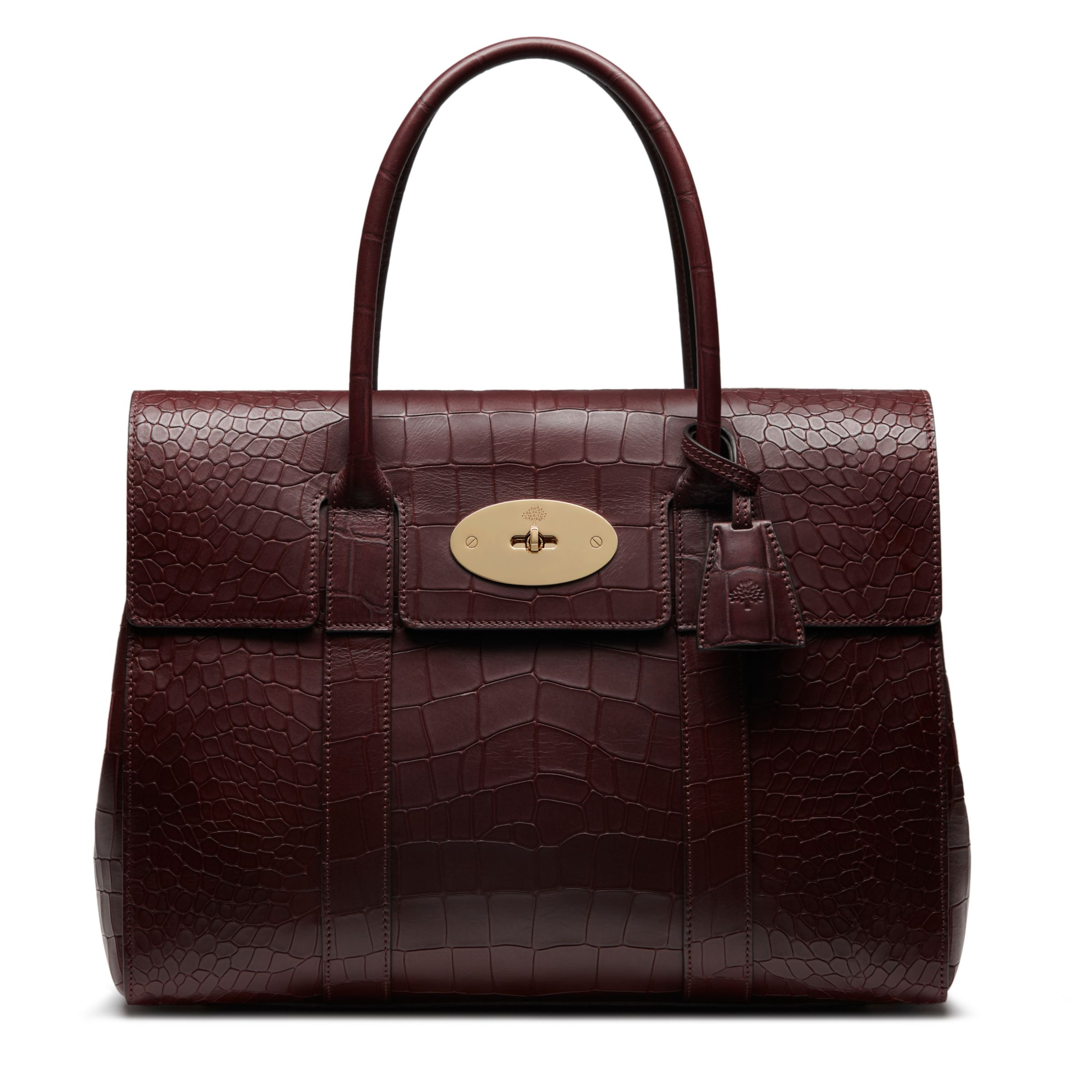 ba22b84273 Mulberry Bayswater Croc Print Leather Tote, Oxblood at John Lewis & Partners