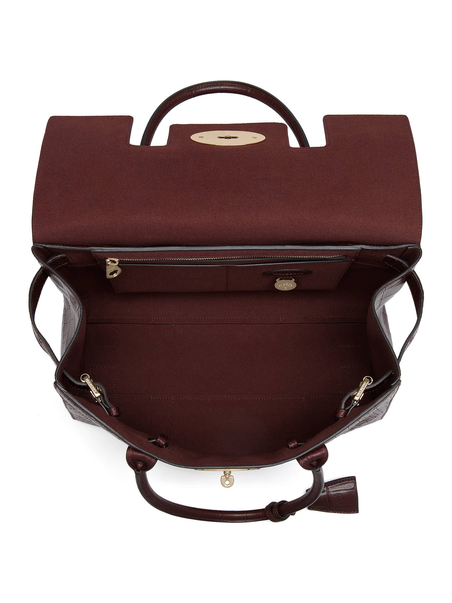 234a9842b0 ... Buy Mulberry Bayswater Croc Print Leather Tote, Oxblood Online at  johnlewis.com ...