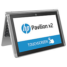 "Buy HP Pavilion x2 Detachable Laptop, Intel Atom, 2GB RAM, 64GB, 10.1"" Touch Screen, Turbo Silver with Free MS Office Mobile Online at johnlewis.com"