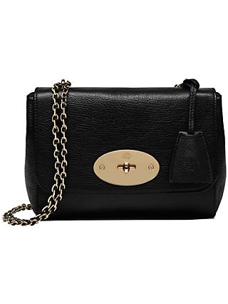 Mulberry Lily Glossy Goat Shoulder Bag Black