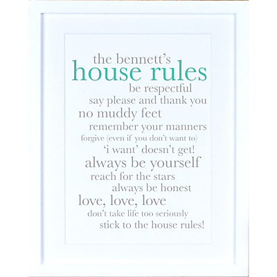 Megan Claire – Personalised Definiton House Rules Framed Print