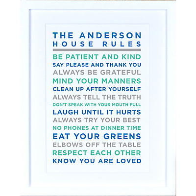 Megan Claire – Personalised House Rules Framed Print, Marine