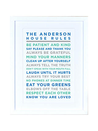 Buy Megan Claire - Personalised House Rules Framed Print, Marine Online at johnlewis.com