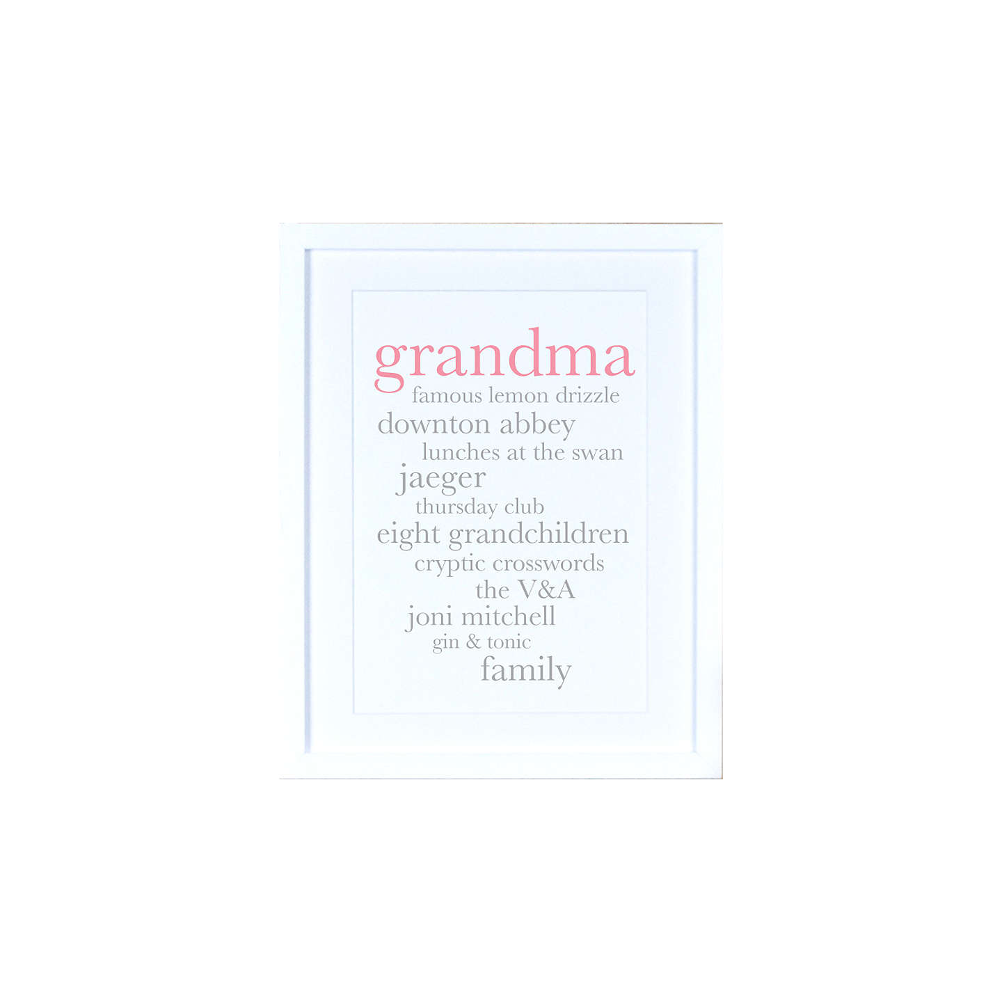 BuyMegan Claire - Personalised Grandma Definition Framed Print, 35.5 x 27.5cm Online at johnlewis.com
