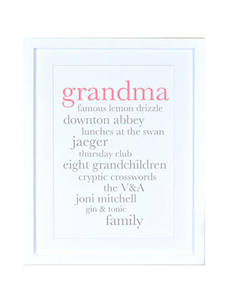 Buy Megan Claire - Personalised Grandma Definition Framed Print, 35.5 x 27.5cm Online at johnlewis.com