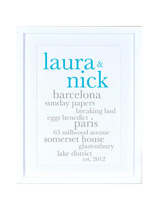 Buy Megan Claire - Personlised Couples Definition Framed Print, 35.5 x 27.5cm Online at johnlewis.com