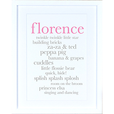 Megan Claire – Personlised Baby Girl Definition Framed Print, 35.5 x 27.5cm