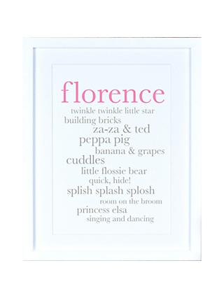 Megan Claire - Personlised Baby Girl Definition Framed Print, 35.5 x 27.5cm