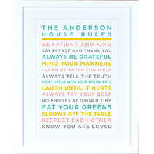 Buy Megan Claire - Personalised House Rules Framed Print, Pastels Online at johnlewis.com