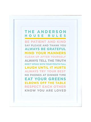 Megan Claire - Personalised House Rules Framed Print, Pastels
