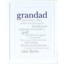 Buy Megan Claire - Personalised Grandad Definition Framed Print, 35.5 x 27.5cm Online at johnlewis.com