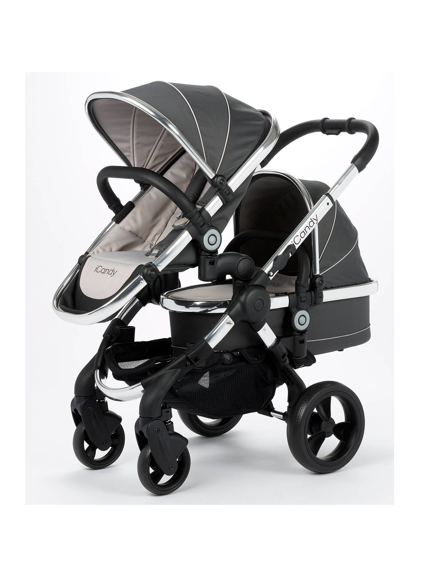 BuyiCandy Peach Blossom Twin Pushchair, Truffle 2 Online at johnlewis.com