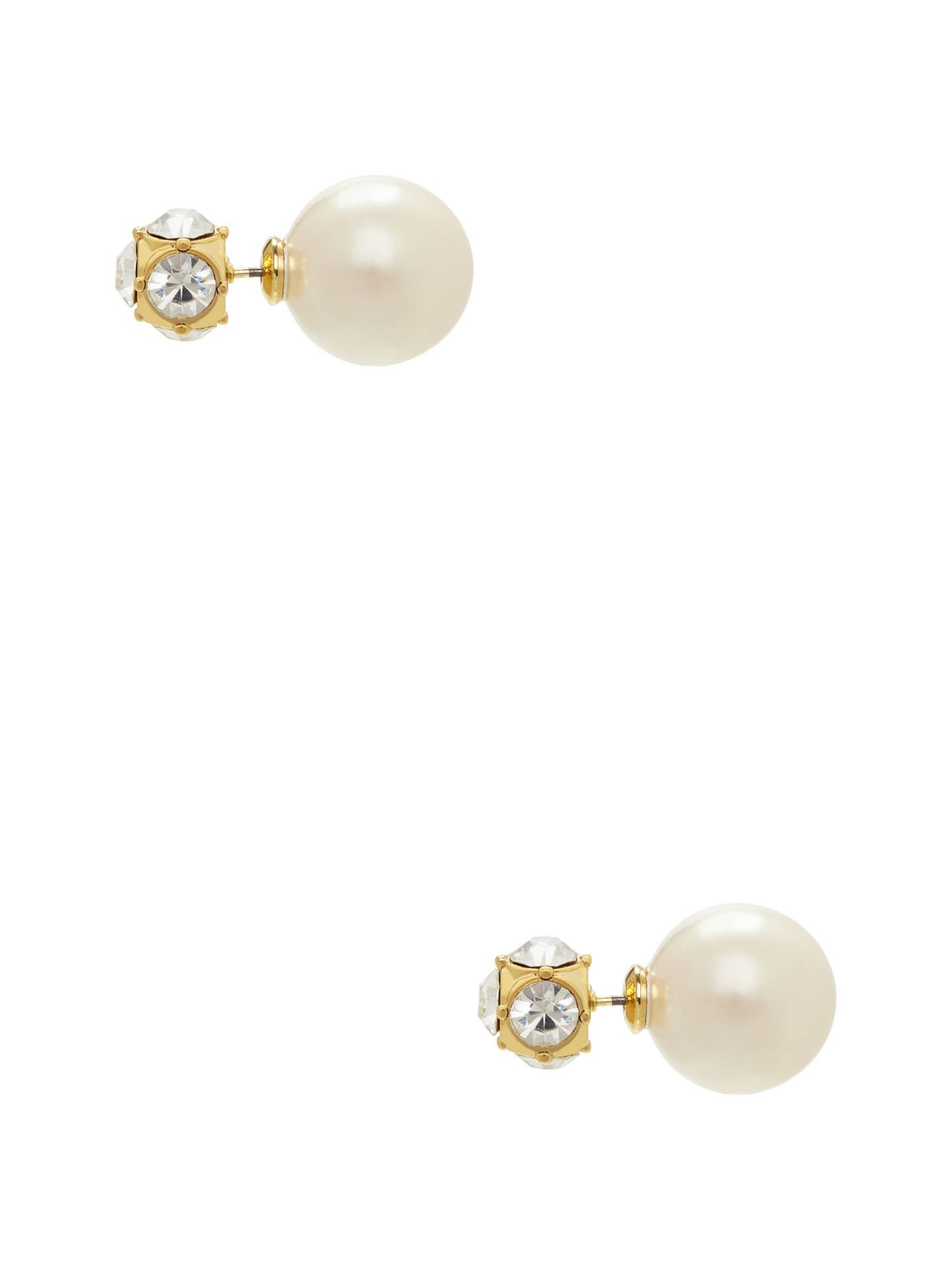 Buykate spade new york Glass Stone and Faux Pearl Reversible Stud Earrings, Gold/White Online at johnlewis.com