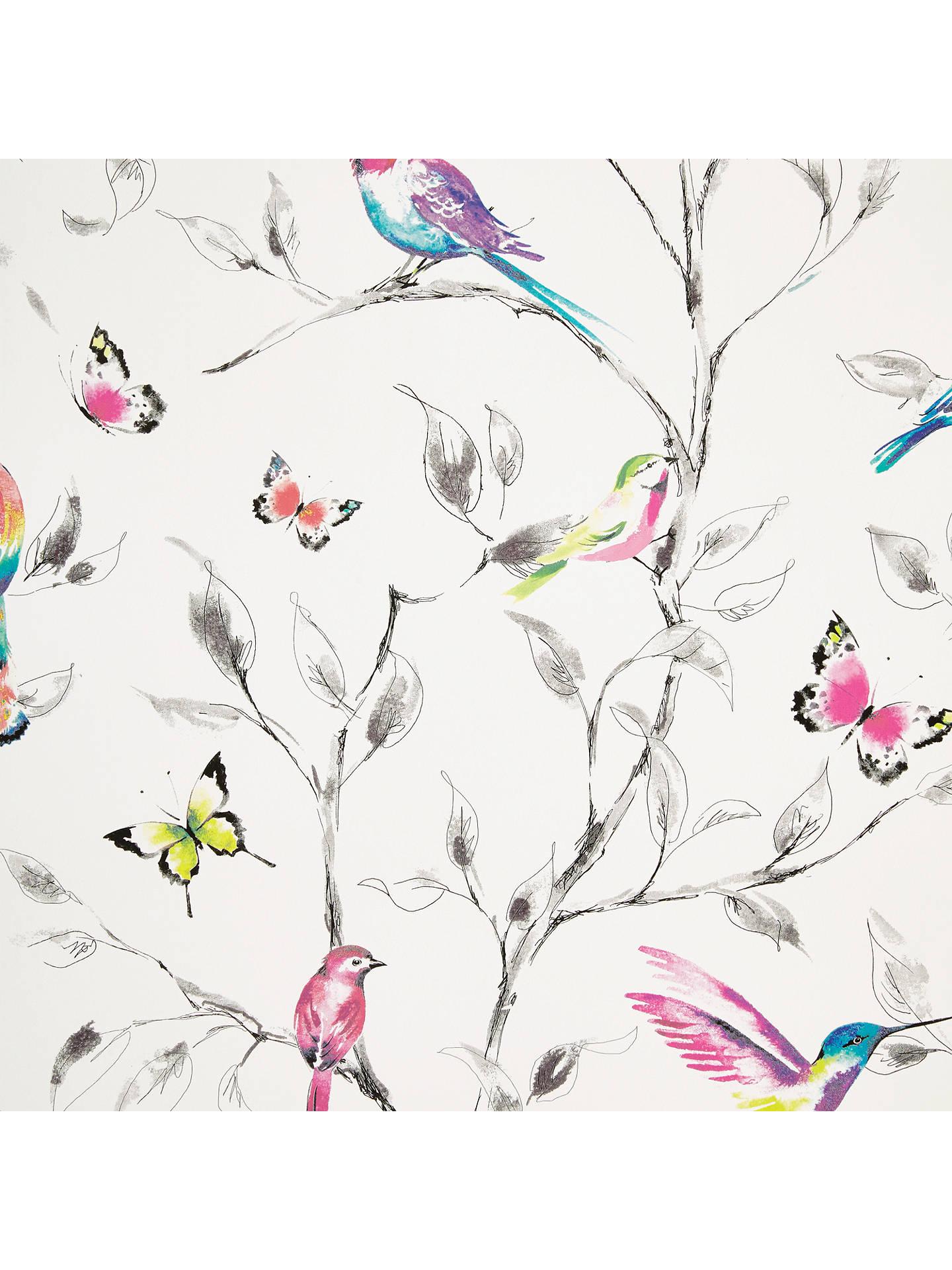 John Lewis & Partners Hummingbird Trees Wallpaper, Multi at John ...