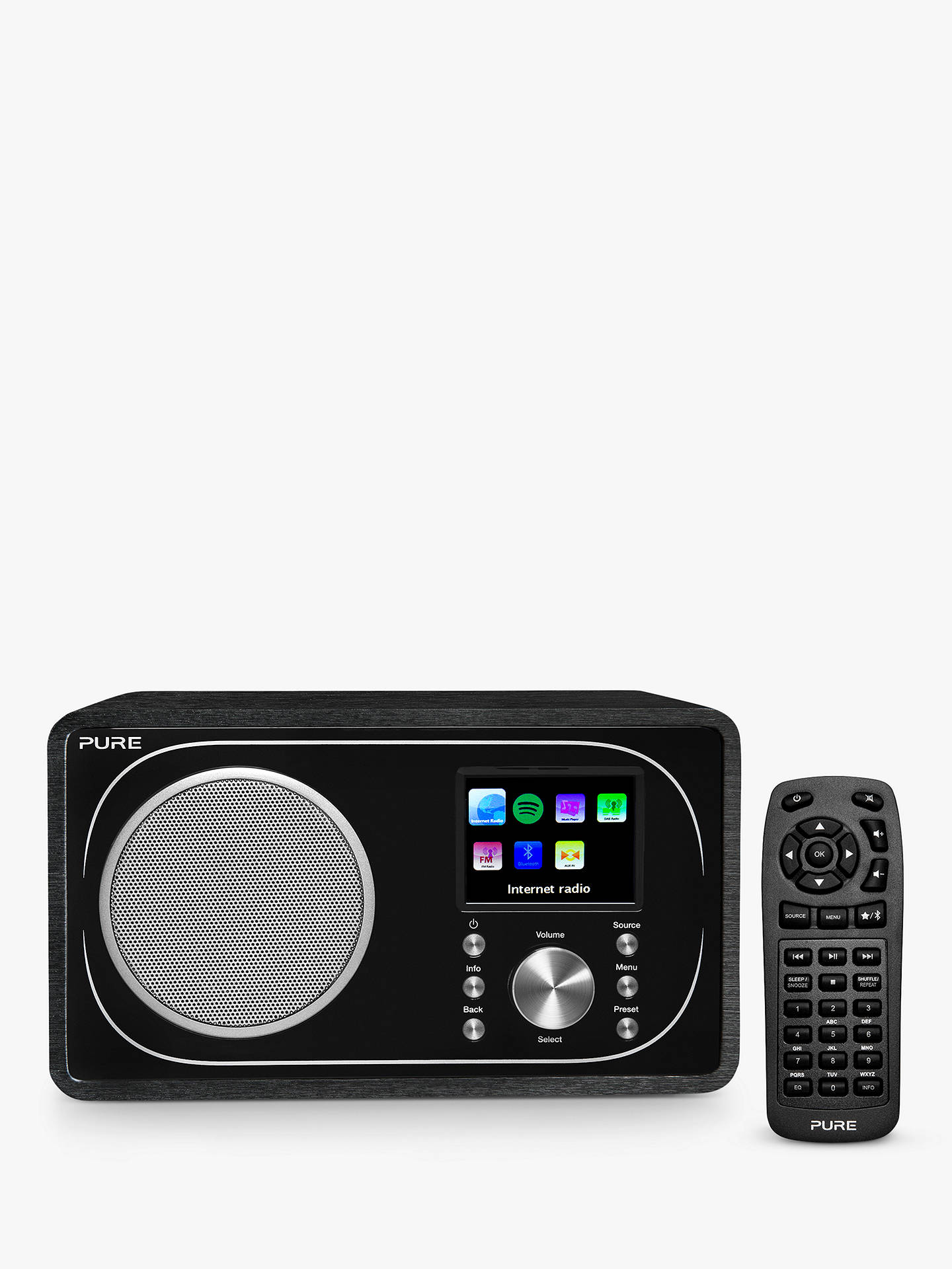 BuyPure Evoke F3 DAB+/FM Radio With Bluetooth, Wi-Fi & Colour LCD Screen, Black Online at johnlewis.com