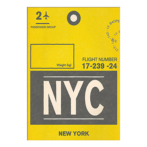 Buy Nick Cranston - Luggage Labels: New York Unframed Print with Mount, 40 x 30cm Online at johnlewis.com