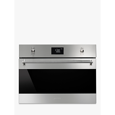 Image of Smeg SF4390MCX Classic Compact Combination Microwave Oven, Stainless Steel