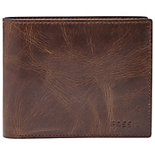 Buy Fossil Derrick Large Coin Pocket Bifold Wallet, Dark Brown Online at johnlewis.com