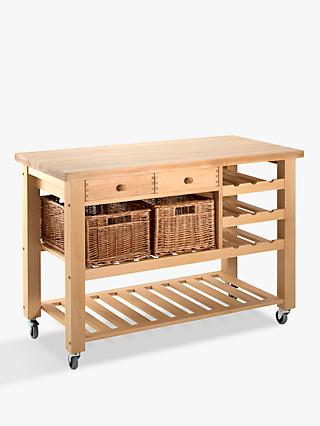 Eddingtons Lambourn Butcher's Trolley Wine Rack, Medium, Beech Wood