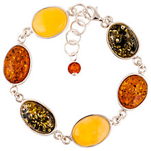 Buy Be-Jewelled Mixed Amber Sterling Silver Bracelet, Multi Online at johnlewis.com