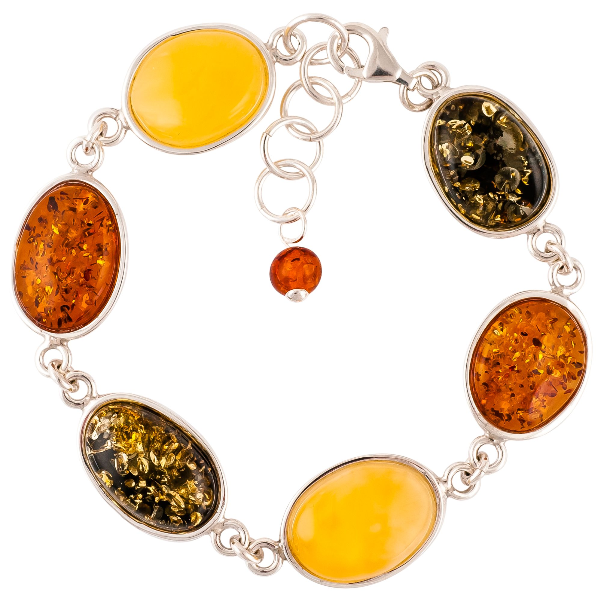 Be-Jewelled Be-Jewelled Mixed Amber Sterling Silver Bracelet, Multi