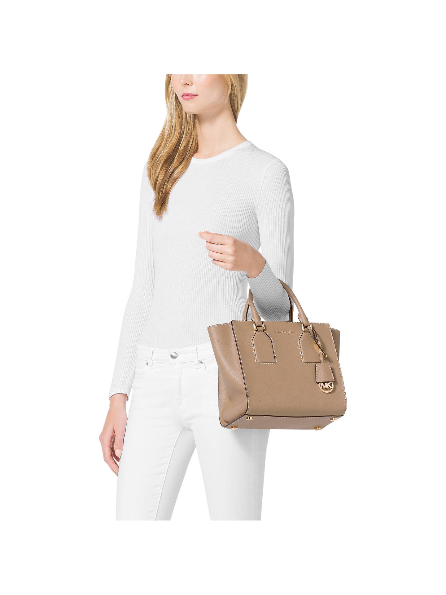 6615afc45066 ... Buy MICHAEL Michael Kors Selby Medium Leather Satchel, Khaki Online at  johnlewis.com