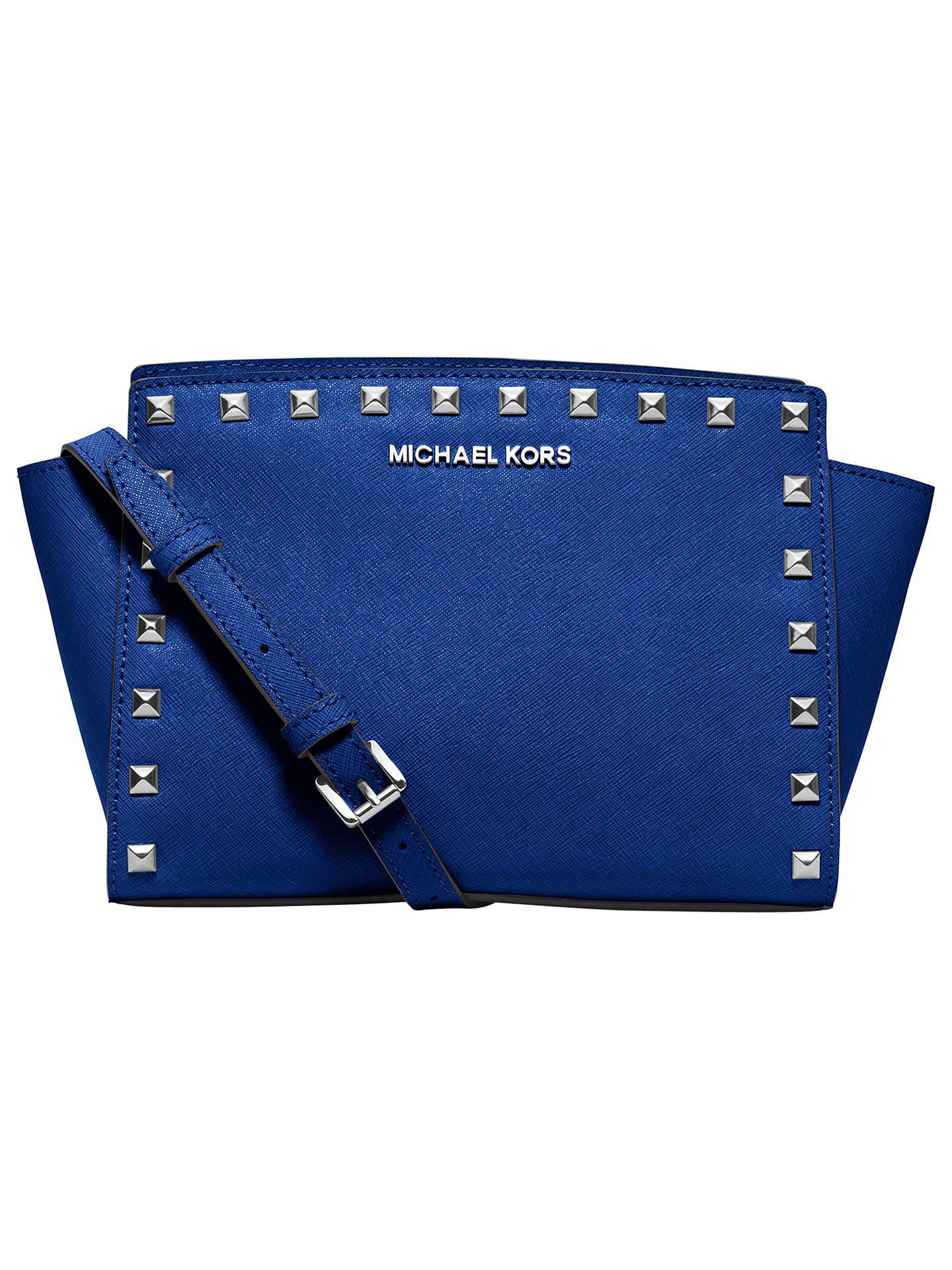 5b4e5f912381 Buy MICHAEL Michael Kors Selma Stud Medium Leather Messenger Bag, Blue  Online at johnlewis.