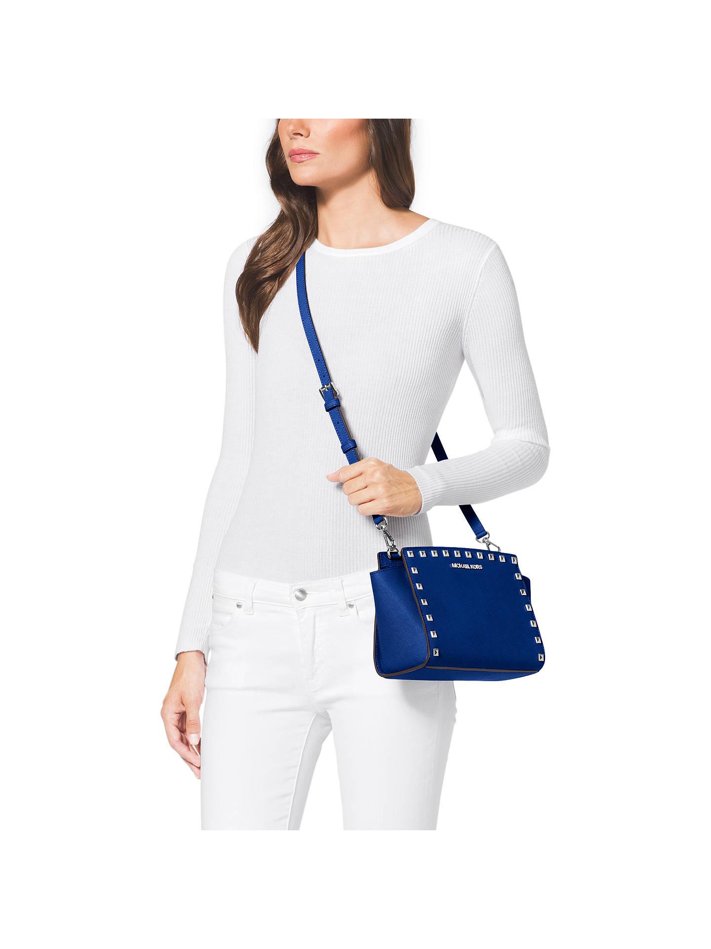6820c051fffd Buy MICHAEL Michael Kors Selma Stud Medium Leather Messenger Bag, Blue  Online at johnlewis.