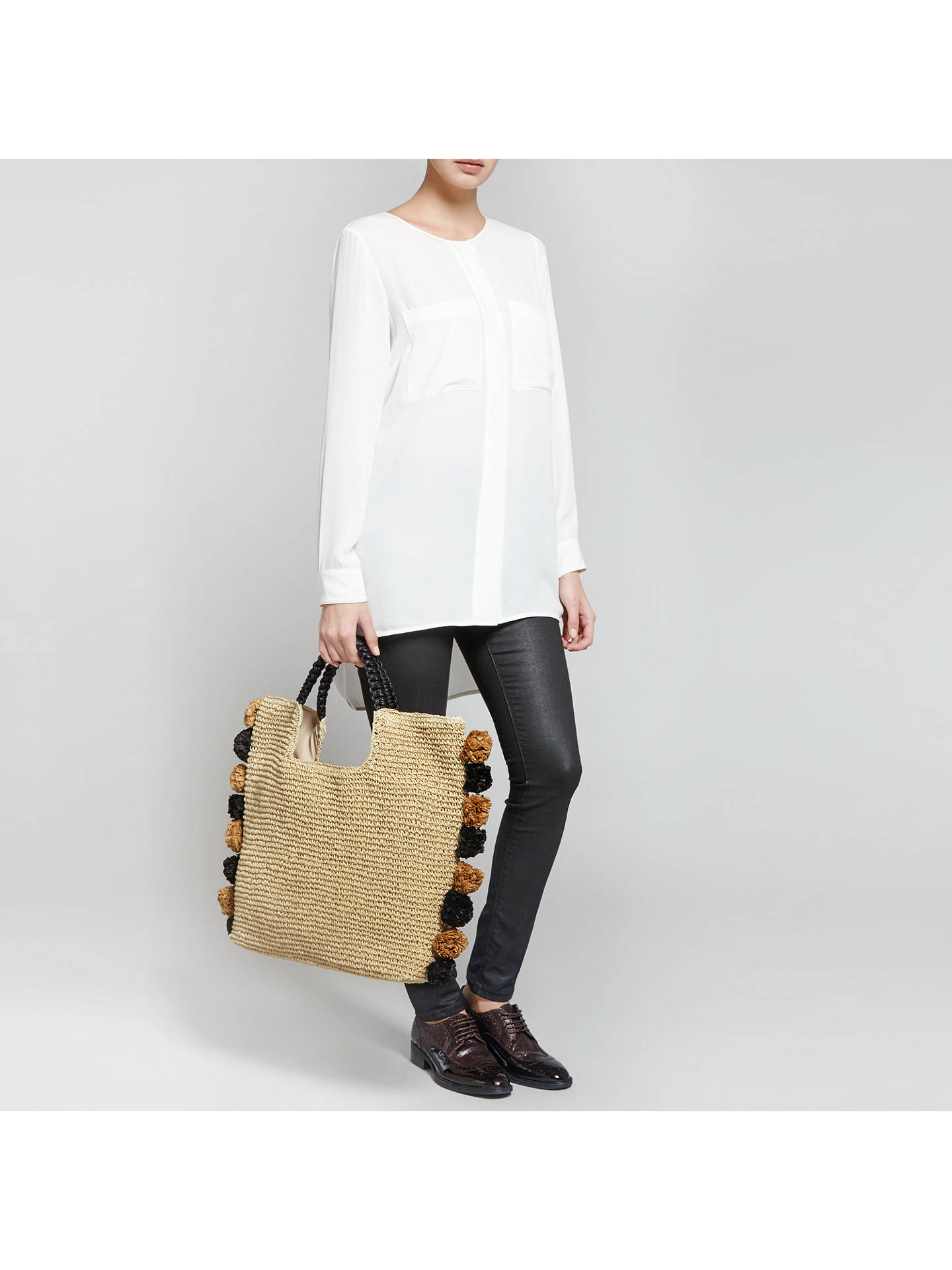 Buy Collection WEEKEND by John Lewis Pom Pom Straw Shopper Bag, Neutral Online at johnlewis.com