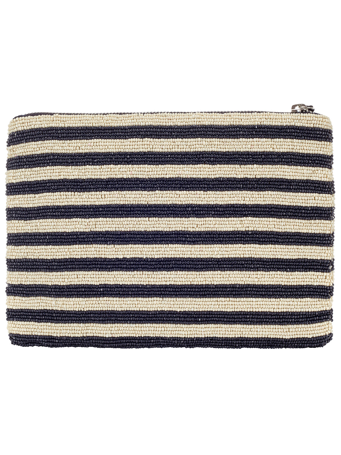 Buy Collection WEEKEND by John Lewis Striped Beaded Pouch, Navy / White Online at johnlewis.com