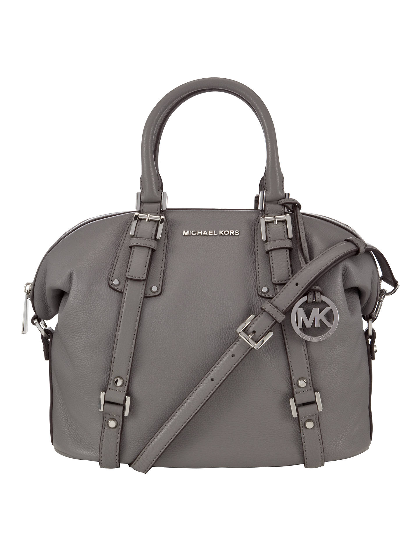 13d9c352e583ff Buy MICHAEL Michael Kors Bedford Belted Large Leather Satchel, Grey Online  at johnlewis.com ...