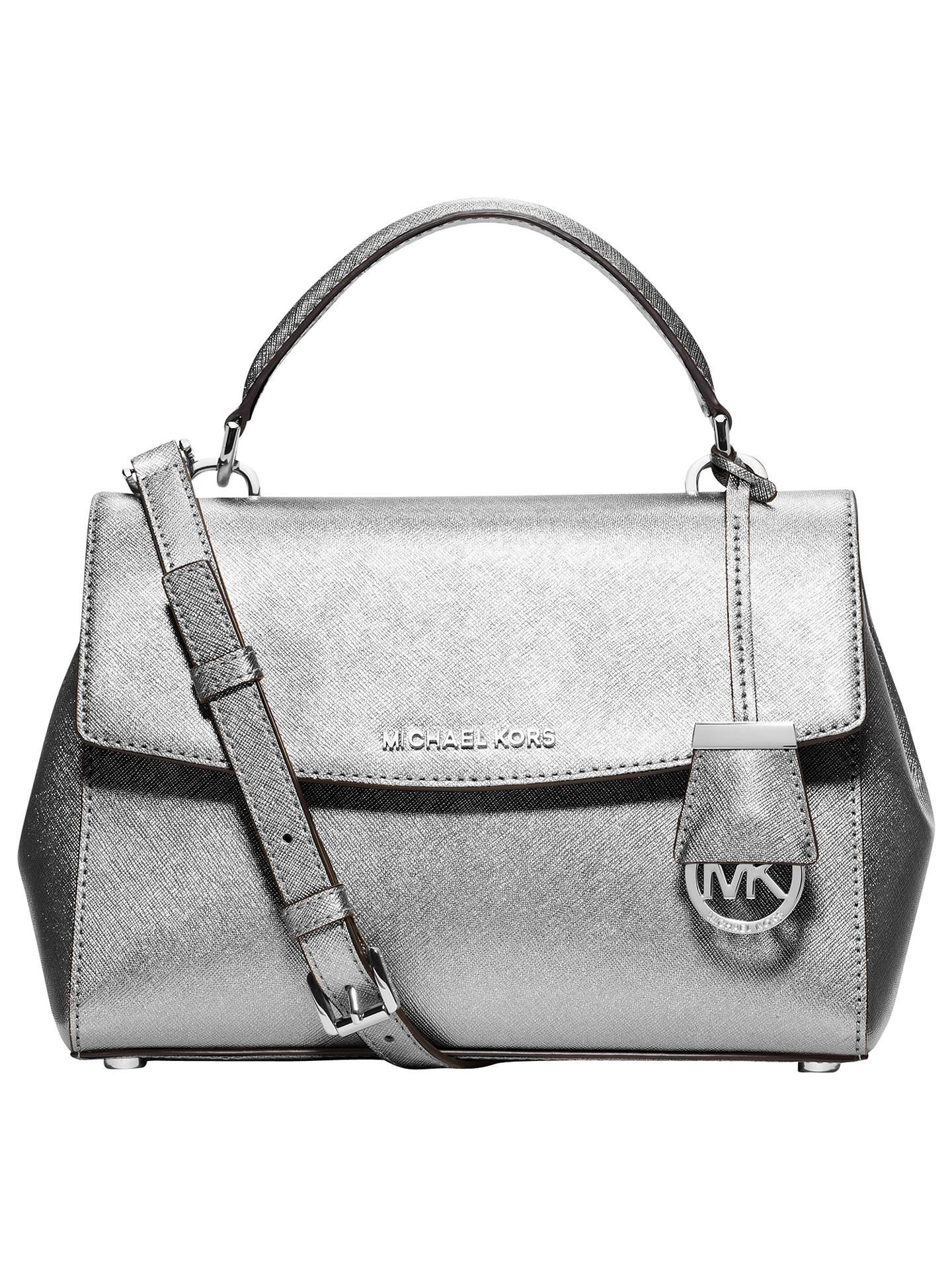 1d5fba7c31c0e2 Buy MICHAEL Michael Kors Ava Small Saffiano Leather Satchel, Silver Online  at johnlewis.com ...