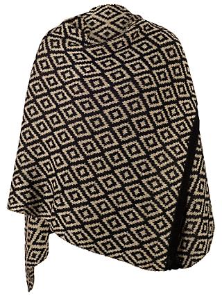 Chesca Oversized Knitted Scarf, Black/Stone
