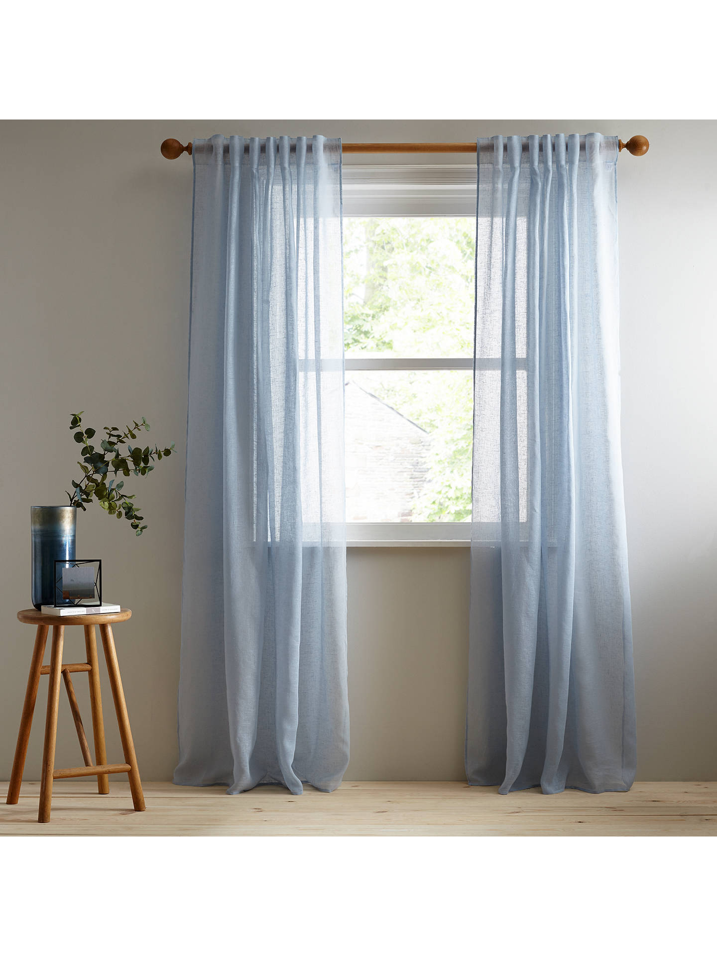 BuyJohn Lewis & Partners Kaolin Hidden Tab Top Voile Panel, Pacific, W145 x Drop 230cm Online at johnlewis.com