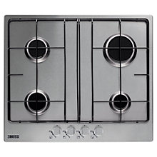 Buy Zanussi ZGG65411SA Gas Hob, Silver Online at johnlewis.com