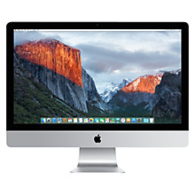 "Buy Apple iMac with Retina 5K display MK482B/A All-in-One Desktop Computer, Intel Core i5, 8GB RAM, 2TB Fusion Drive, AMD Radeon R9, 27"", Silver Online at johnlewis.com"