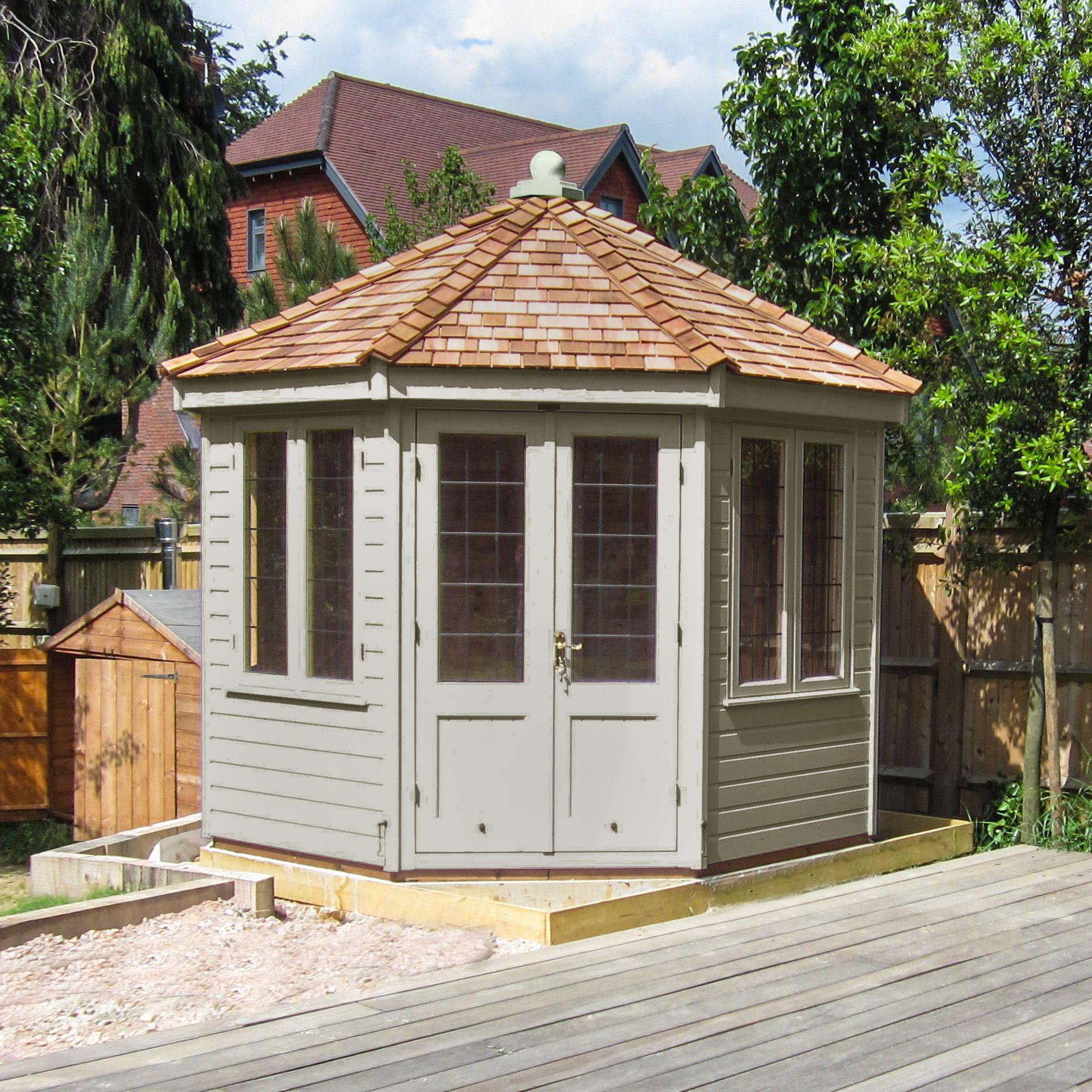 Crane Crane 3 x 3m Round Pavilion Summerhouse, FSC-certified (Scandinavian Redwood)