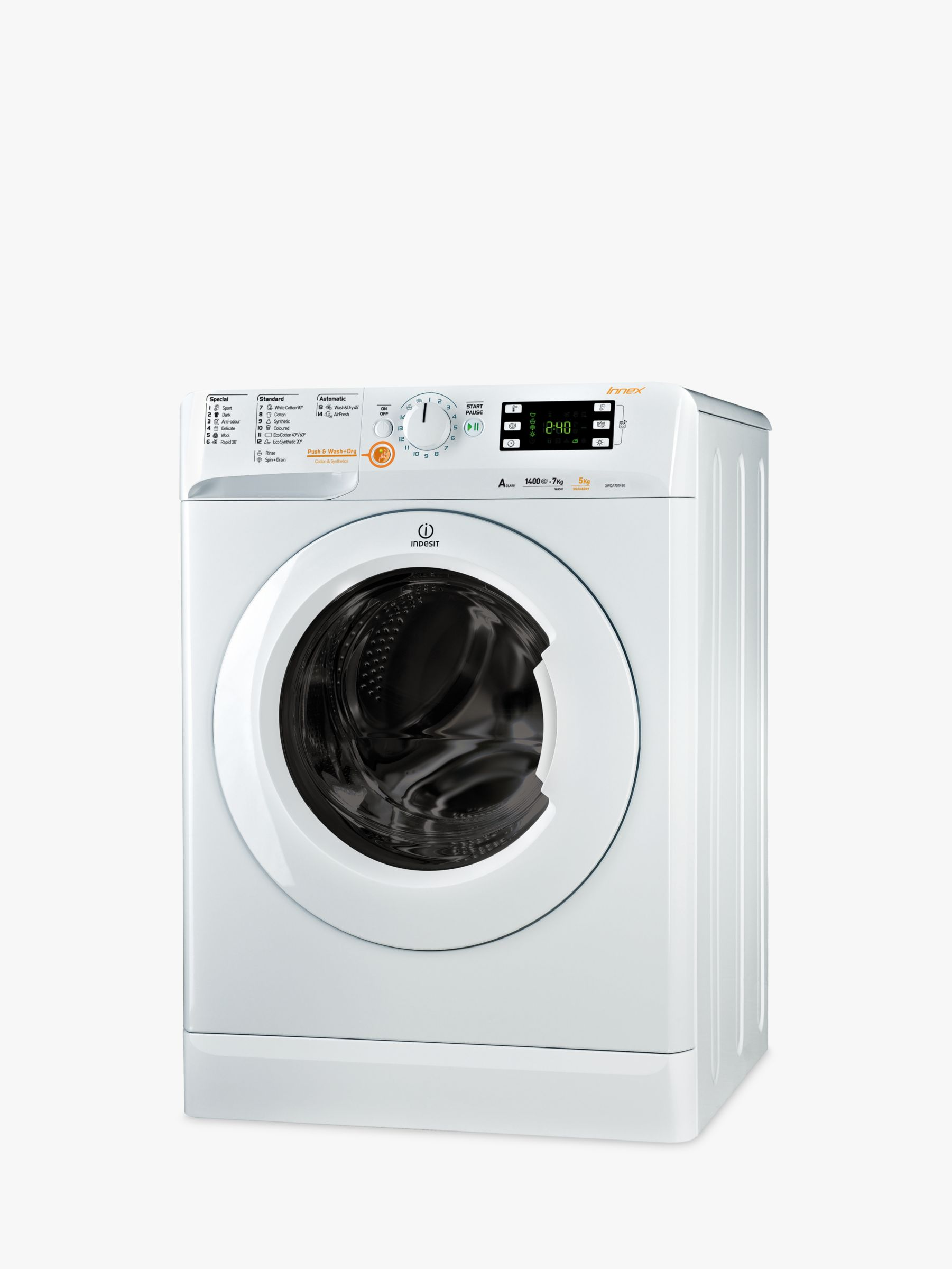 Indesit Indesit Innex XWDE751480XW Freestanding Washer Dryer, 7kg Wash/5kg Dry Load, A Energy Rating, 1400rpm Spin, White