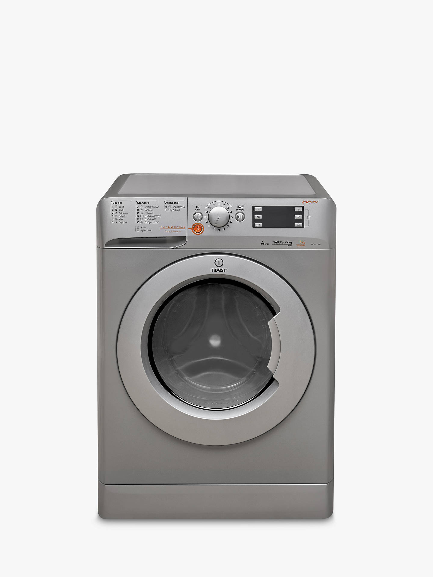 BuyIndesit Innex XWDE751480XS Freestanding Washer Dryer, 7kg Wash/5kg Dry Load, A Energy Rating, 1400rpm Spin, Silver Online at johnlewis.com