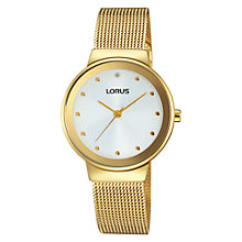 Buy Lorus RG296JX9 Women's Mesh Bracelet Strap Watch, Gold/White Online at johnlewis.com
