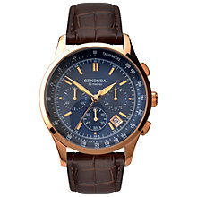 Buy Sekonda 1157.27 Men's Chronograph Leather Strap Watch, Brown/Blue Online at johnlewis.com