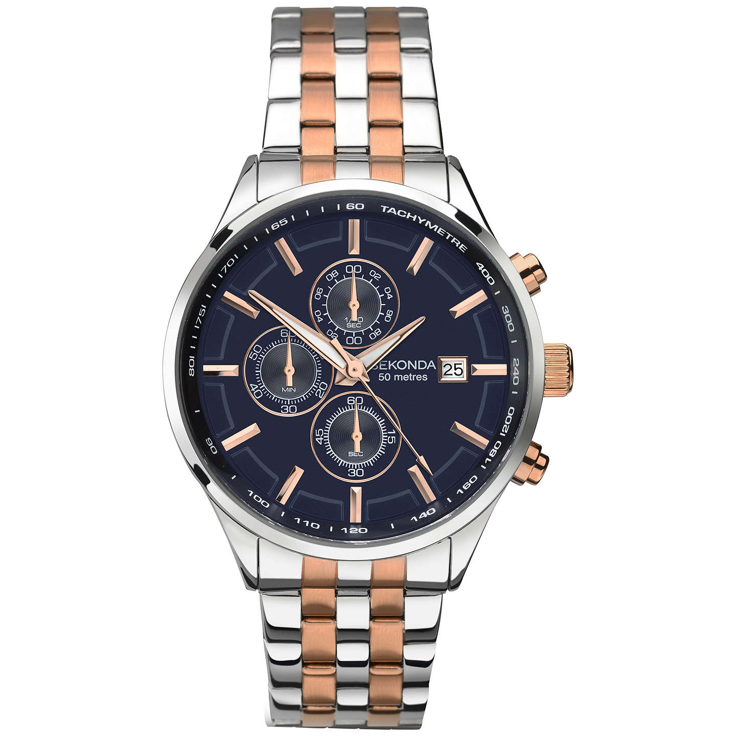 Sekonda 1107.27 Men's Velocity Two Tone Stainless Steel Chronograph Bracelet Strap Watch, Silver/Rose Gold by Sekonda