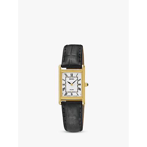 Buy Seiko SUP250P1 Women's Solar Leather Strap Watch, Black/White Online at johnlewis.com