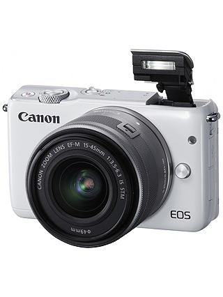 "Buy Canon EOS M10 Compact System Camera with EF-M 15-45mm f/3.5-6.3 IS STM Wide Angle Zoom Lens, HD 1080p, 18MP, NFC, Wi-Fi, 3"" Touch Screen, White Online at johnlewis.com"